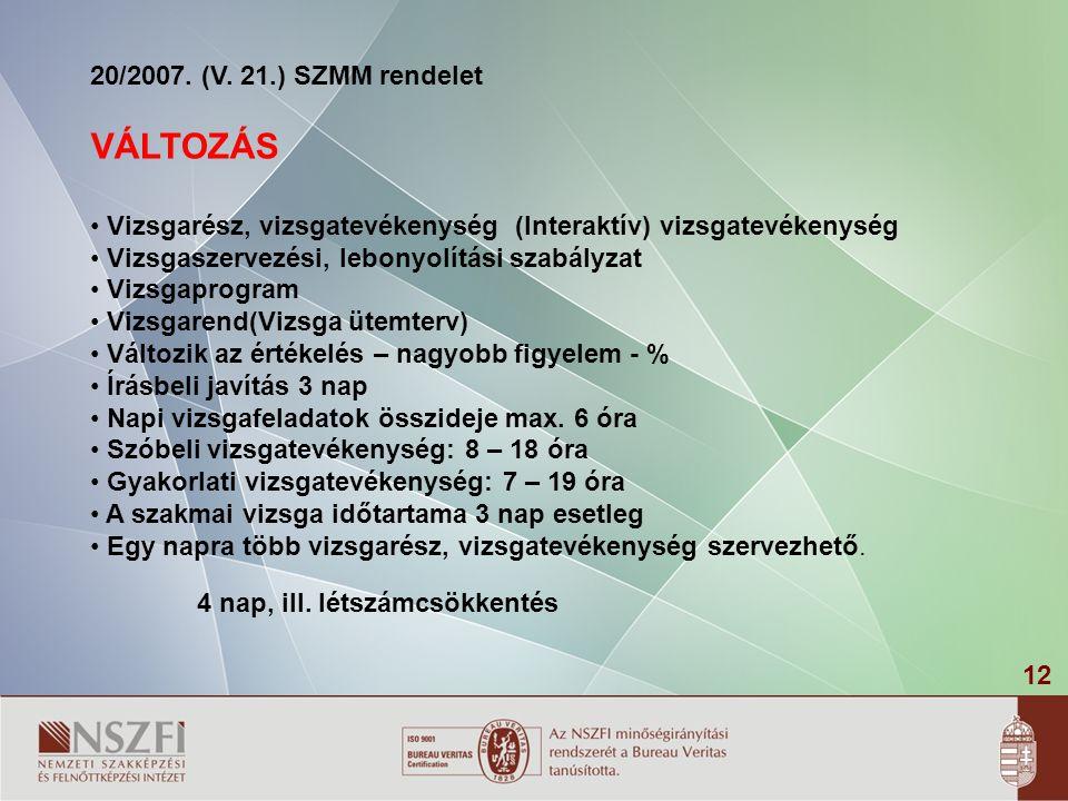 VÁLTOZÁS 20/2007. (V. 21.) SZMM rendelet