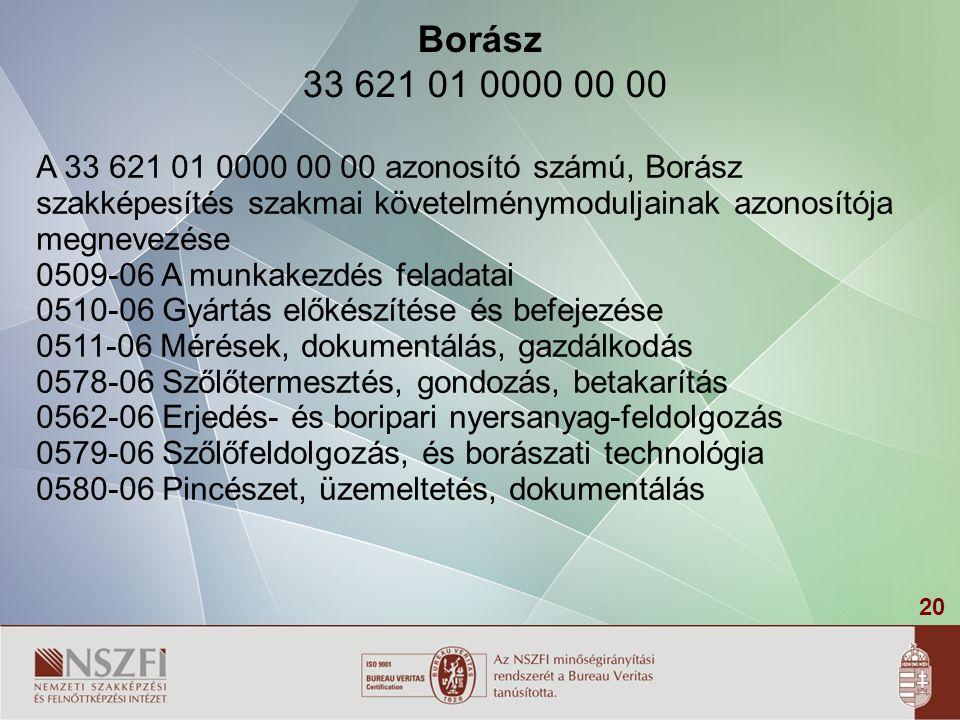 Borász 33 621 01 0000 00 00 A 33 621 01 0000 00 00 azonosító számú, Borász. szakképesítés szakmai követelménymoduljainak azonosítója megnevezése.