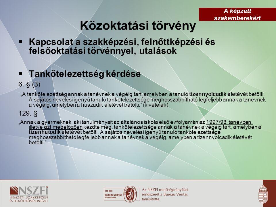 Közoktatási törvény Kapcsolat a szakképzési, felnőttképzési és felsőoktatási törvénnyel, utalások.