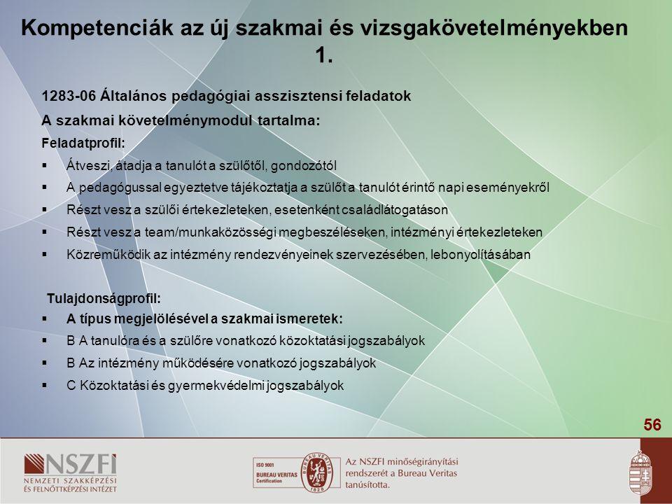 Kompetenciák az új szakmai és vizsgakövetelményekben 1.