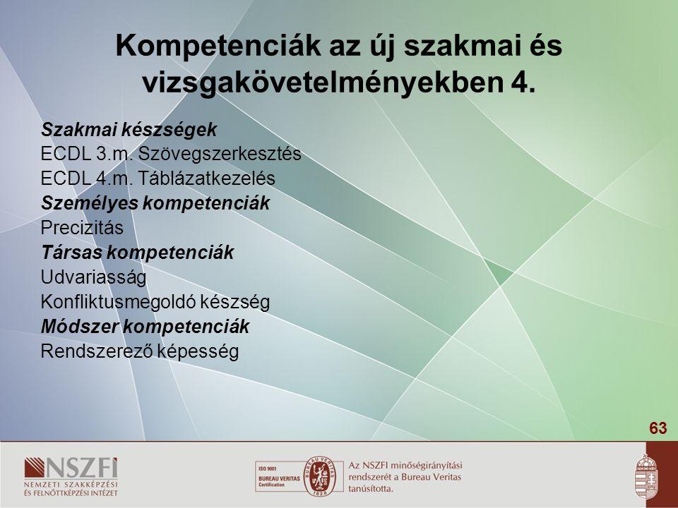 Kompetenciák az új szakmai és vizsgakövetelményekben 4.