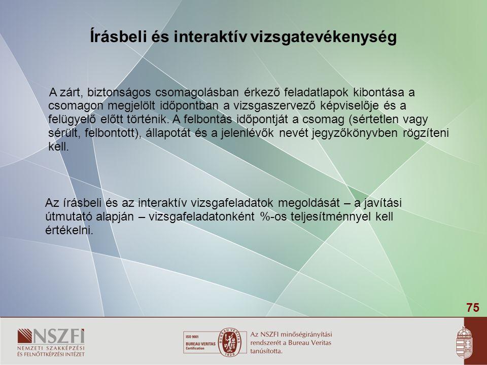 Írásbeli és interaktív vizsgatevékenység
