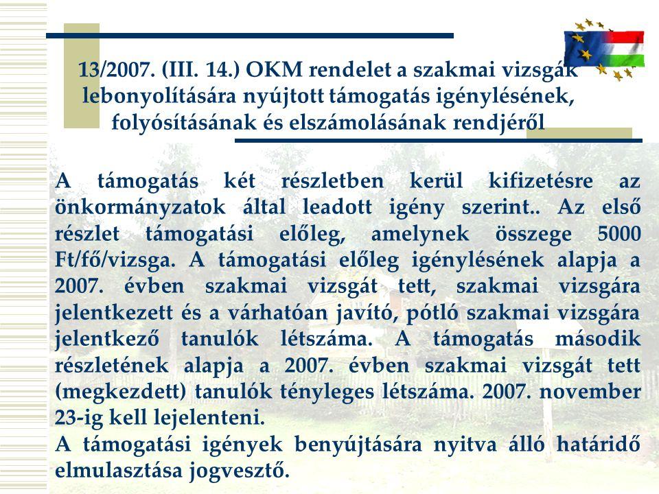 13/2007. (III. 14.) OKM rendelet a szakmai vizsgák lebonyolítására nyújtott támogatás igénylésének, folyósításának és elszámolásának rendjéről