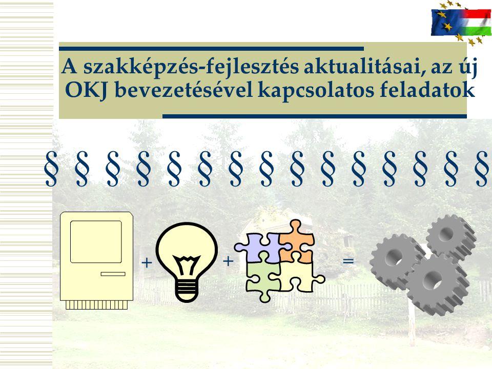 A szakképzés-fejlesztés aktualitásai, az új OKJ bevezetésével kapcsolatos feladatok
