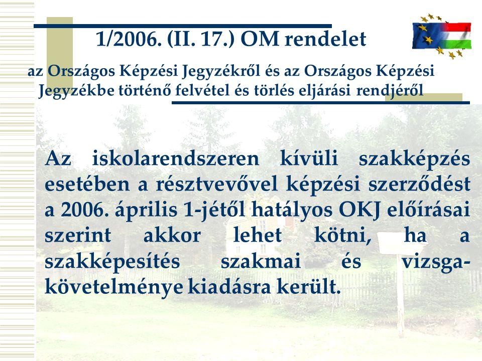 1/2006. (II. 17.) OM rendelet az Országos Képzési Jegyzékről és az Országos Képzési Jegyzékbe történő felvétel és törlés eljárási rendjéről.