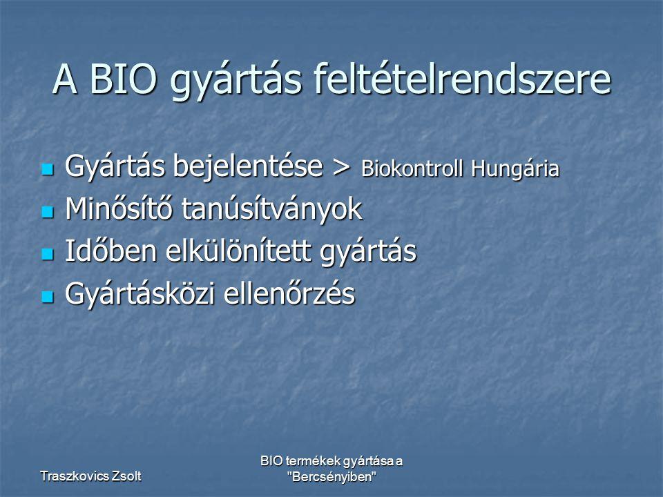 A BIO gyártás feltételrendszere