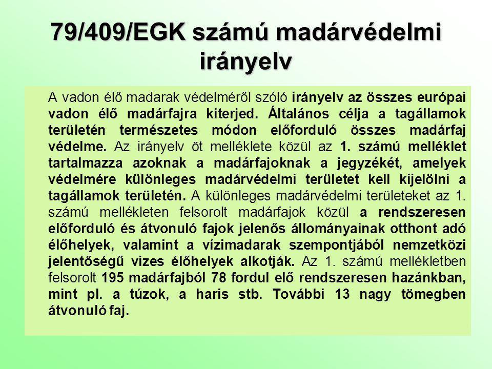 79/409/EGK számú madárvédelmi irányelv
