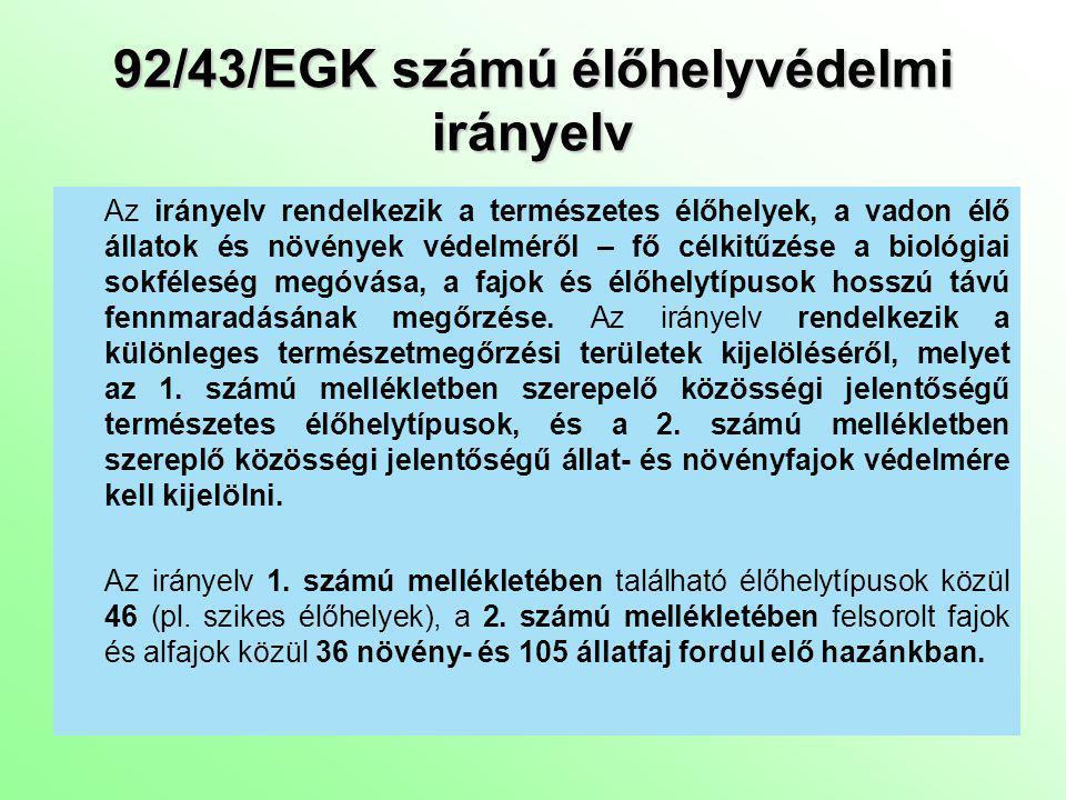 92/43/EGK számú élőhelyvédelmi irányelv