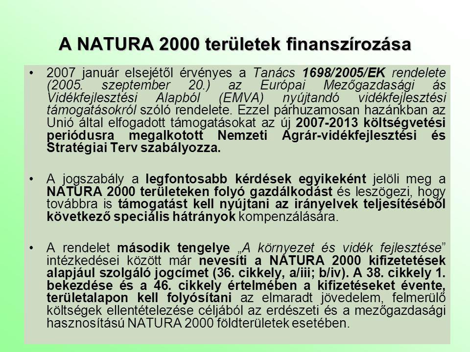 A NATURA 2000 területek finanszírozása