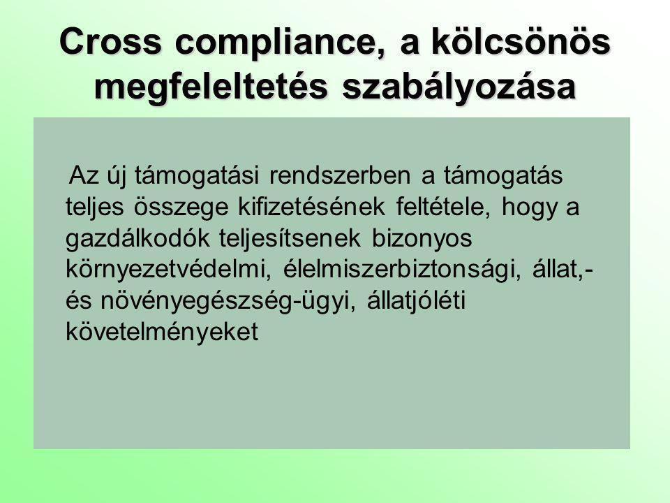 Cross compliance, a kölcsönös megfeleltetés szabályozása