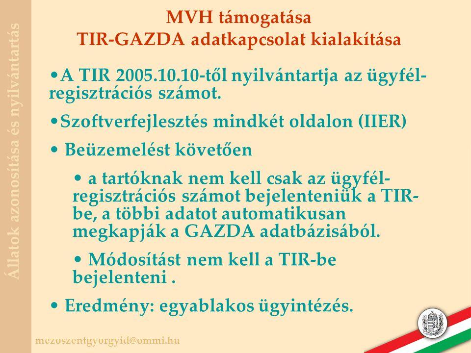 TIR-GAZDA adatkapcsolat kialakítása