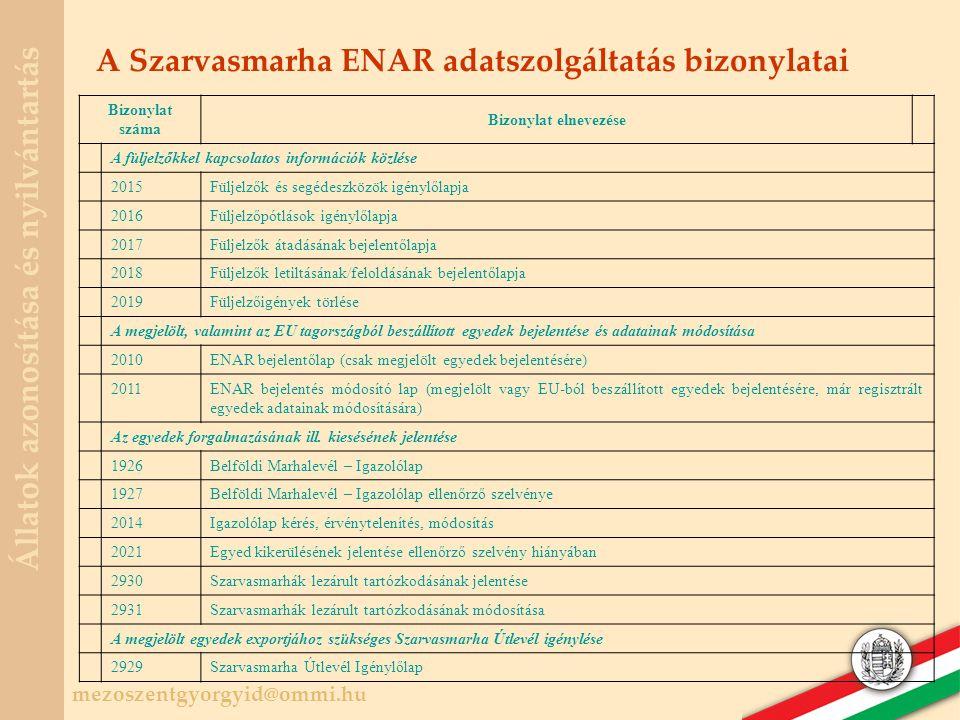 A Szarvasmarha ENAR adatszolgáltatás bizonylatai