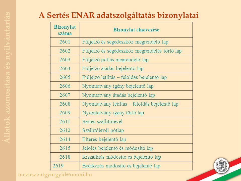 A Sertés ENAR adatszolgáltatás bizonylatai