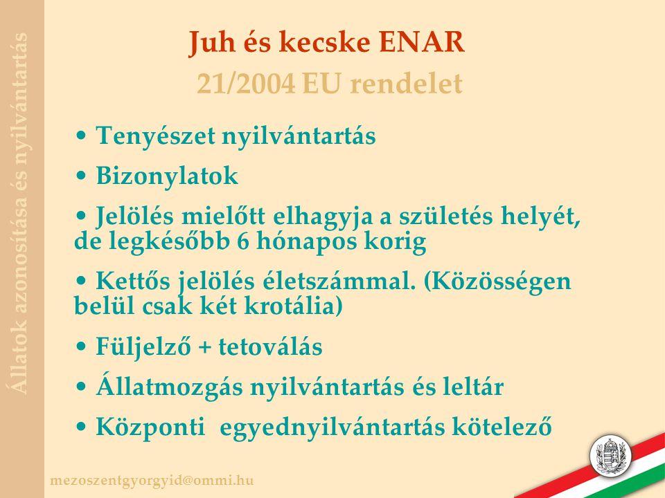 Juh és kecske ENAR 21/2004 EU rendelet