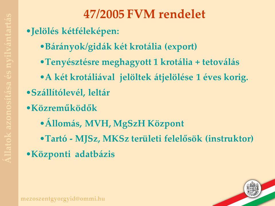 47/2005 FVM rendelet Jelölés kétféleképen: