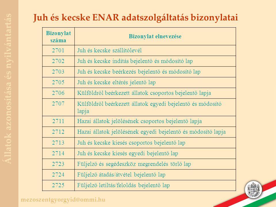 Juh és kecske ENAR adatszolgáltatás bizonylatai
