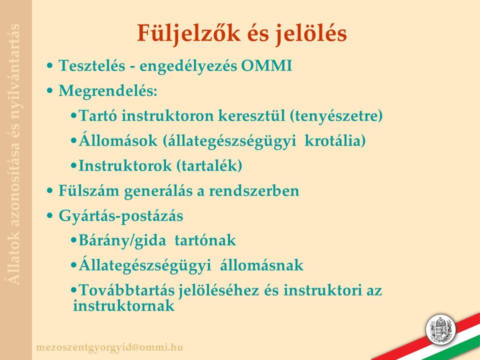 Füljelzők és jelölés Tesztelés - engedélyezés OMMI Megrendelés:
