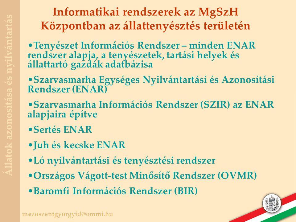 Informatikai rendszerek az MgSzH Központban az állattenyésztés területén
