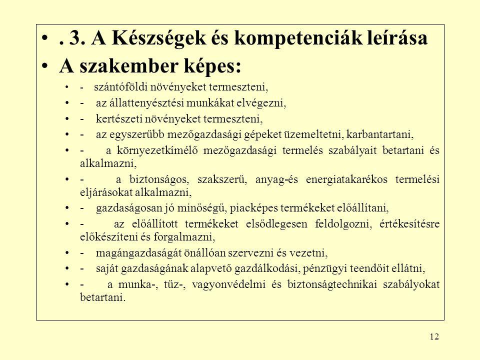 . 3. A Készségek és kompetenciák leírása A szakember képes:
