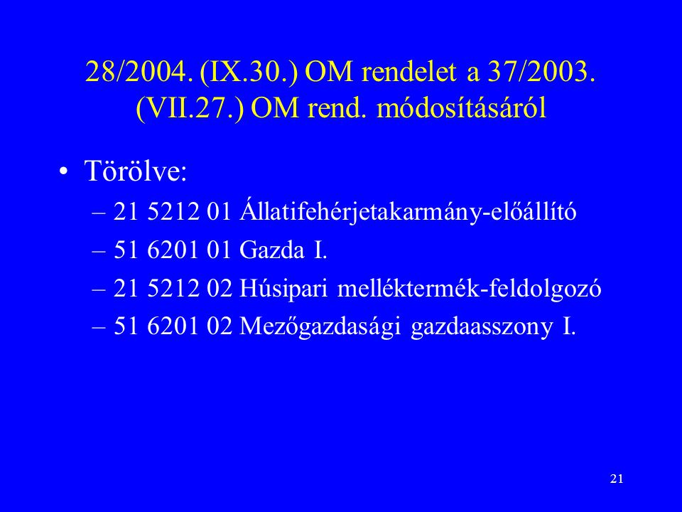 28/2004. (IX. 30. ) OM rendelet a 37/2003. (VII. 27. ) OM rend