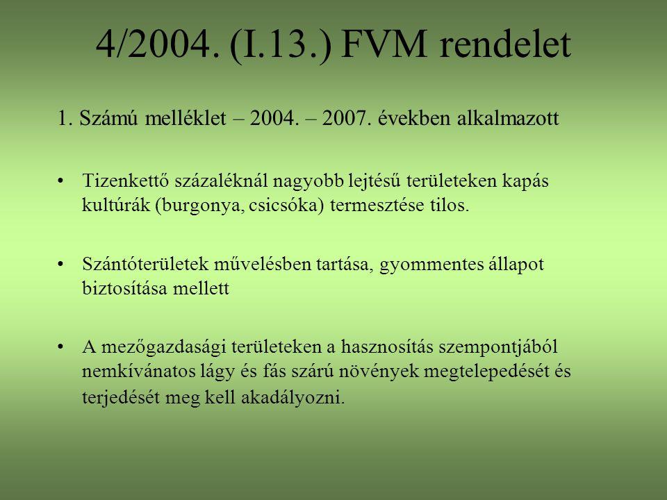 4/2004. (I.13.) FVM rendelet 1. Számú melléklet – 2004. – 2007. években alkalmazott.