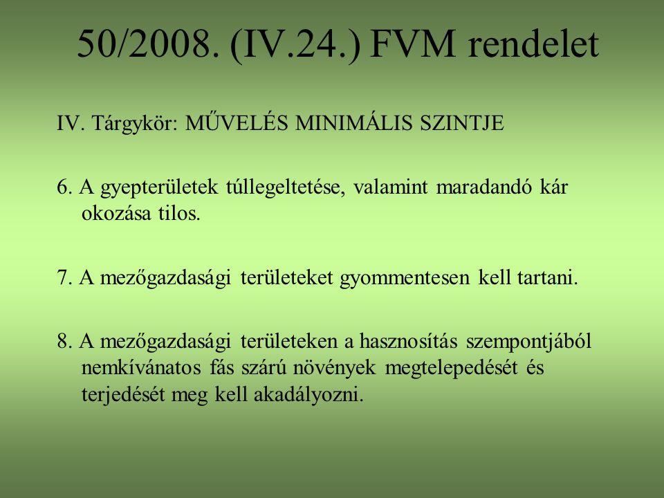 50/2008. (IV.24.) FVM rendelet IV. Tárgykör: MŰVELÉS MINIMÁLIS SZINTJE
