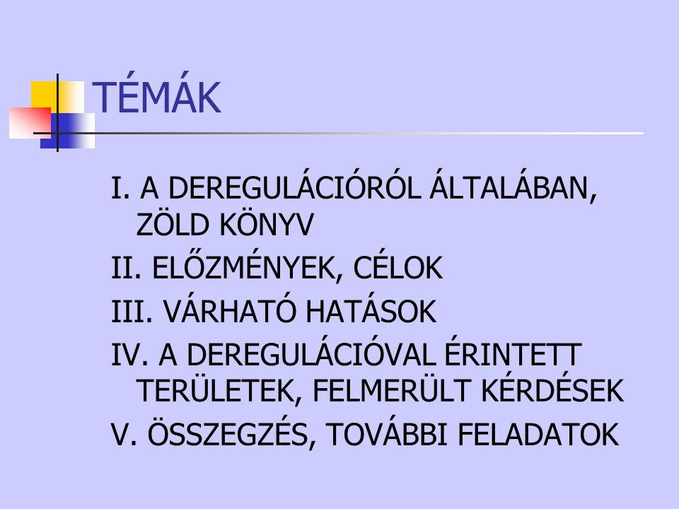 TÉMÁK I. A DEREGULÁCIÓRÓL ÁLTALÁBAN, ZÖLD KÖNYV II. ELŐZMÉNYEK, CÉLOK