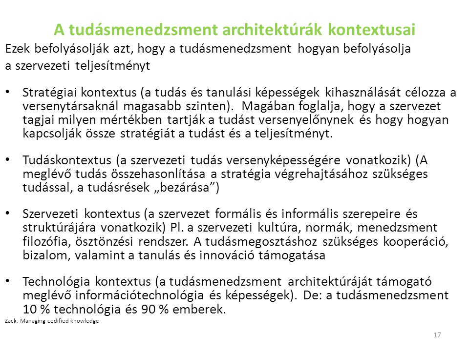A tudásmenedzsment architektúrák kontextusai
