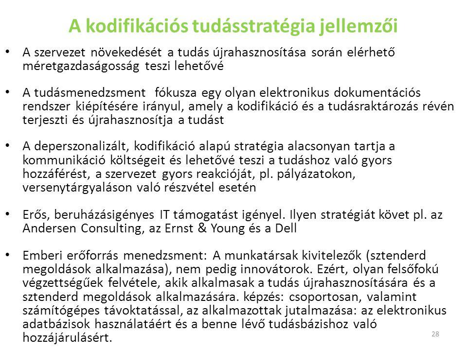 A kodifikációs tudásstratégia jellemzői