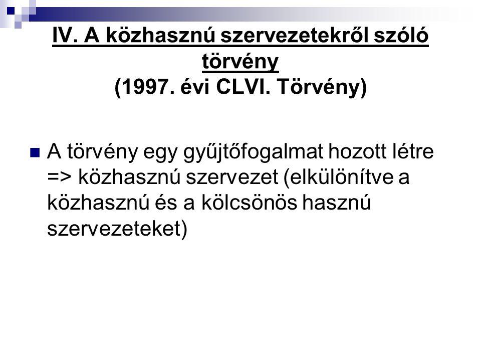 IV. A közhasznú szervezetekről szóló törvény (1997. évi CLVI. Törvény)