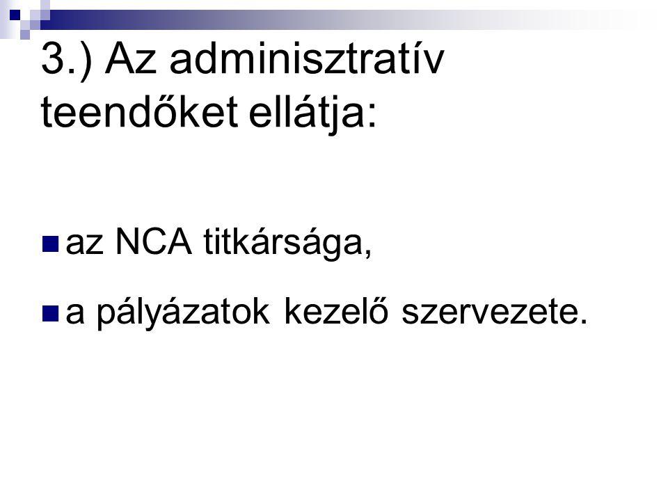 3.) Az adminisztratív teendőket ellátja: