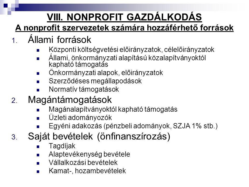 VIII. NONPROFIT GAZDÁLKODÁS A nonprofit szervezetek számára hozzáférhető források