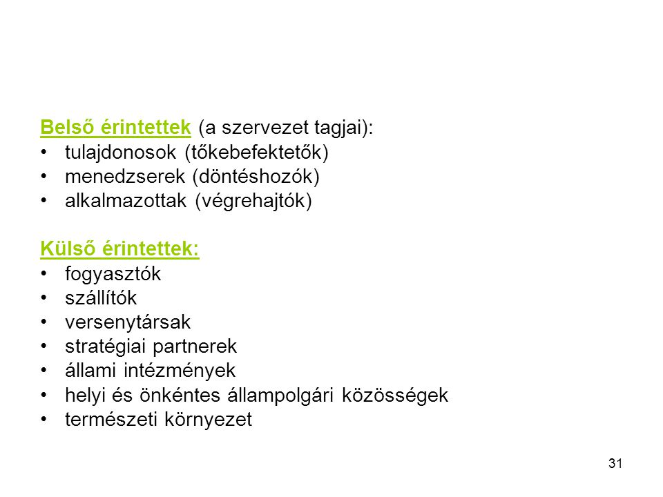 Belső érintettek (a szervezet tagjai):
