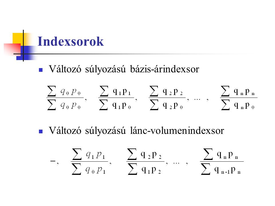 Indexsorok Változó súlyozású bázis-árindexsor