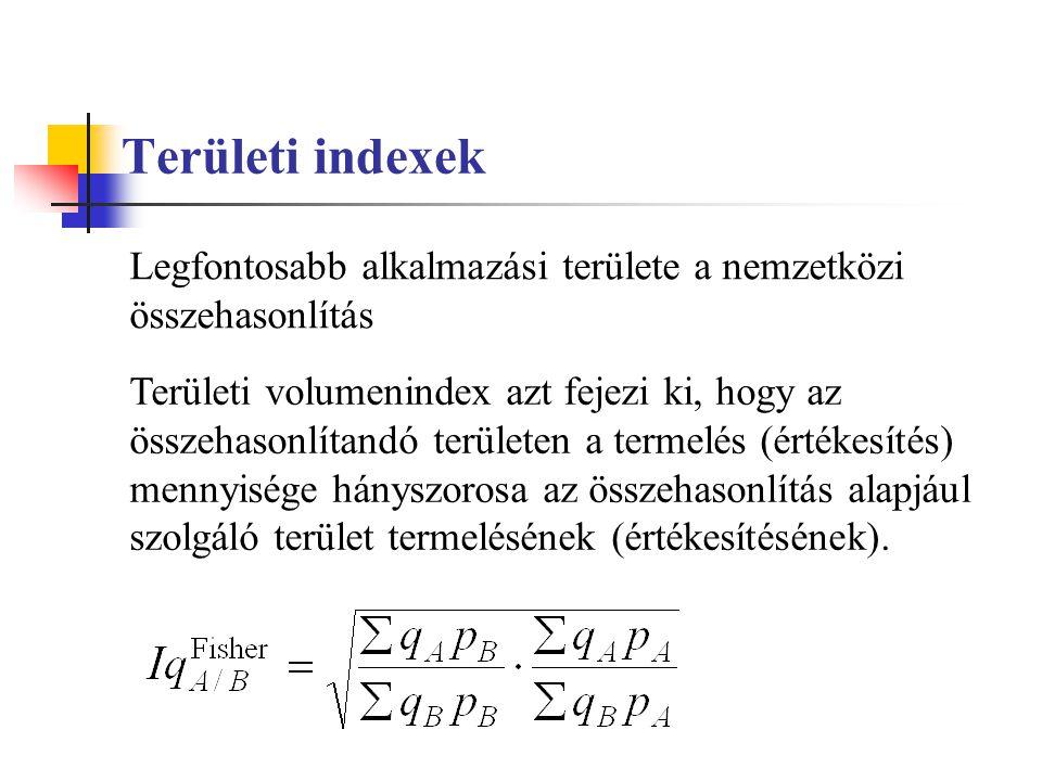 Területi indexek Legfontosabb alkalmazási területe a nemzetközi összehasonlítás.