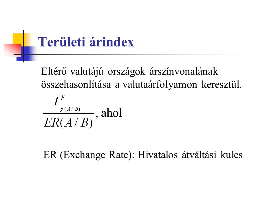 Területi árindex Eltérő valutájú országok árszínvonalának összehasonlítása a valutaárfolyamon keresztül.