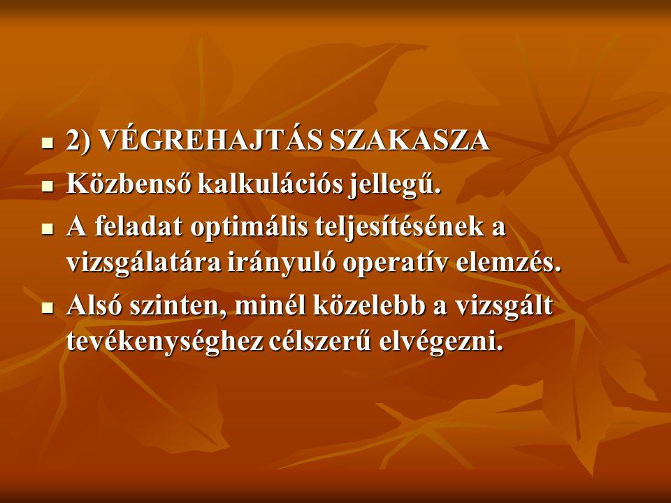2) VÉGREHAJTÁS SZAKASZA