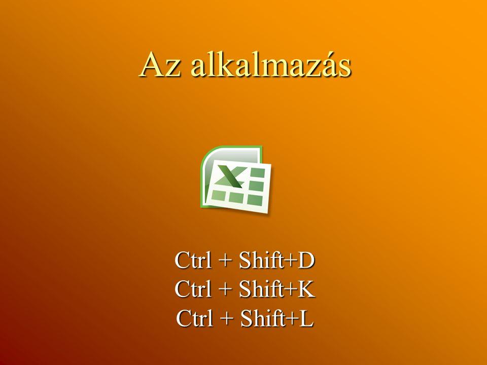 Az alkalmazás Ctrl + Shift+D Ctrl + Shift+K Ctrl + Shift+L