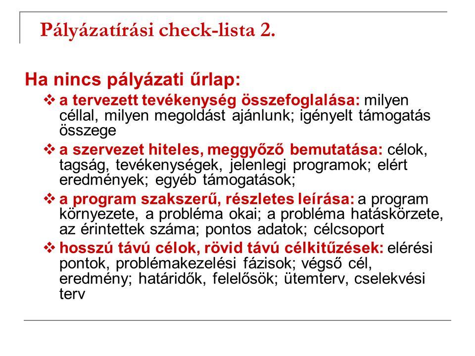 Pályázatírási check-lista 2.