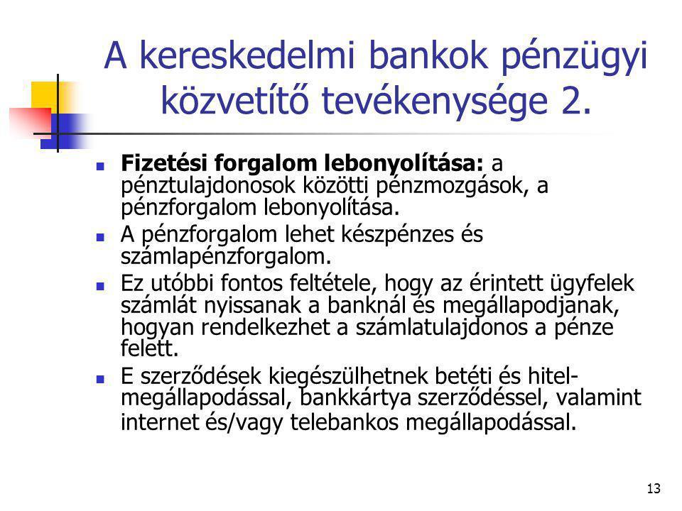 A kereskedelmi bankok pénzügyi közvetítő tevékenysége 2.