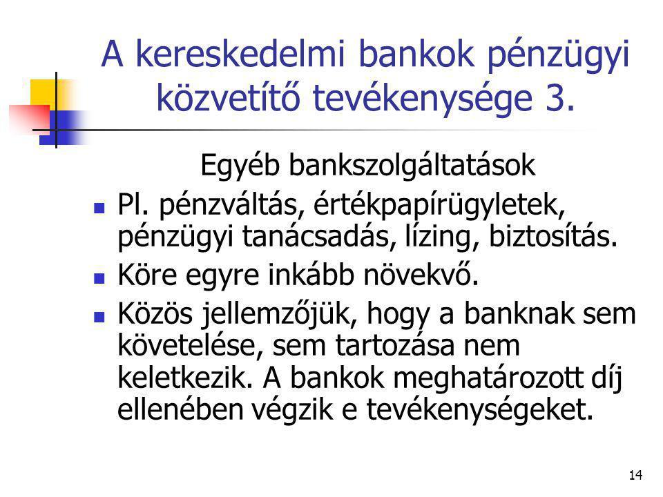 A kereskedelmi bankok pénzügyi közvetítő tevékenysége 3.