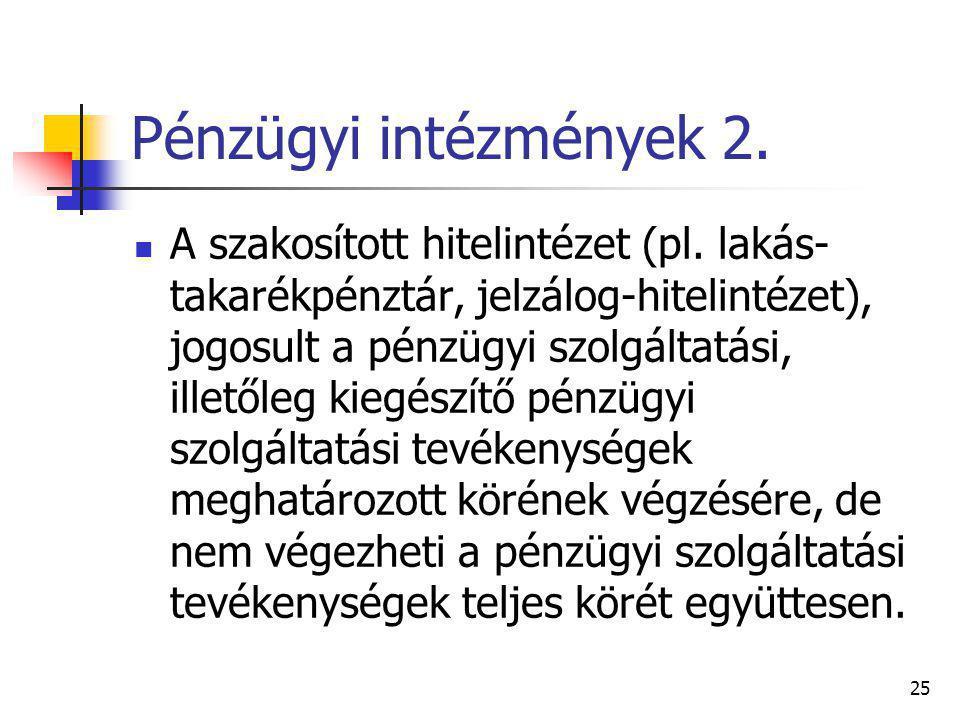 Pénzügyi intézmények 2.