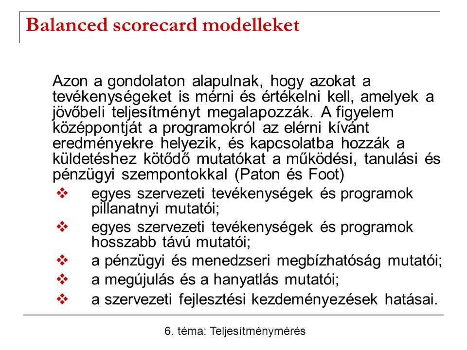 Balanced scorecard modelleket