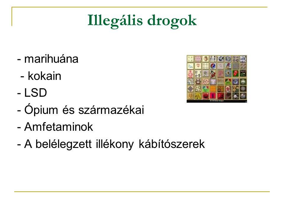 Illegális drogok - marihuána - kokain - LSD - Ópium és származékai
