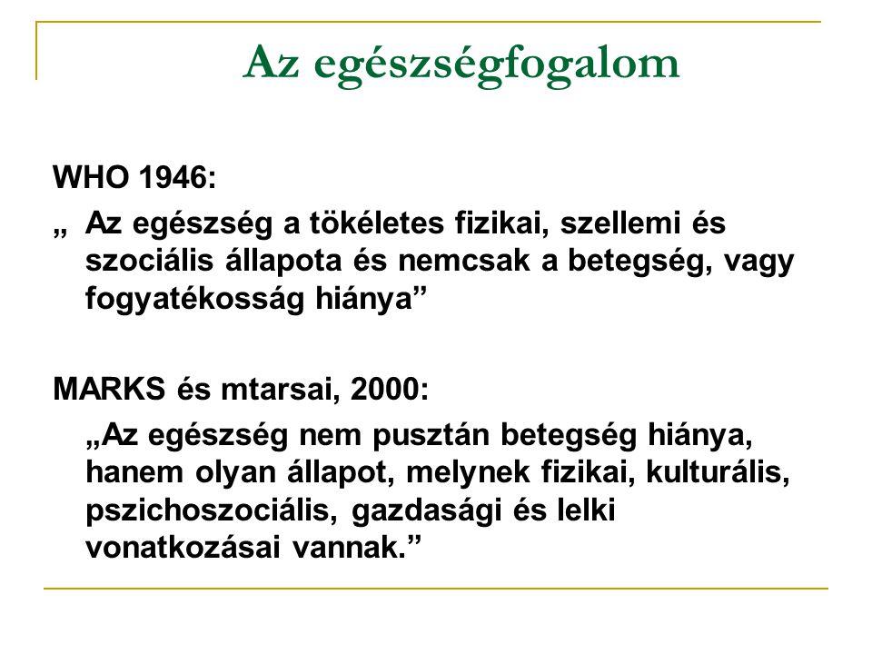 Az egészségfogalom WHO 1946: