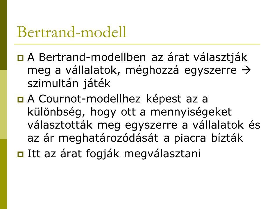 Bertrand-modell A Bertrand-modellben az árat választják meg a vállalatok, méghozzá egyszerre  szimultán játék.