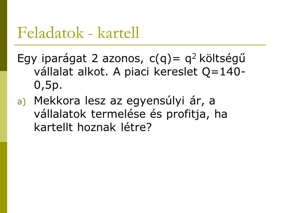 Feladatok - kartell Egy iparágat 2 azonos, c(q)= q2 költségű vállalat alkot. A piaci kereslet Q=140-0,5p.