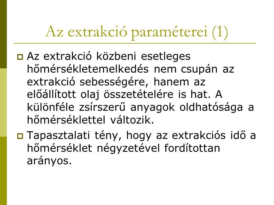 Az extrakció paraméterei (1)