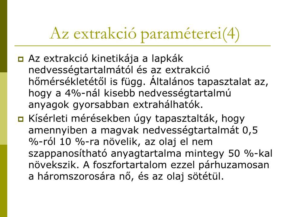 Az extrakció paraméterei(4)