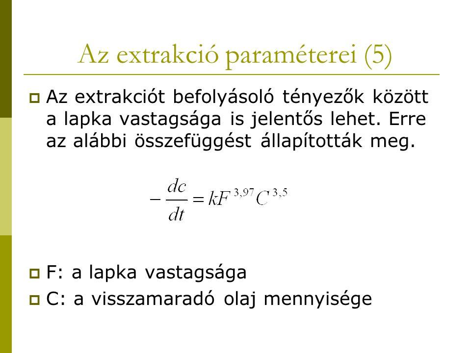 Az extrakció paraméterei (5)